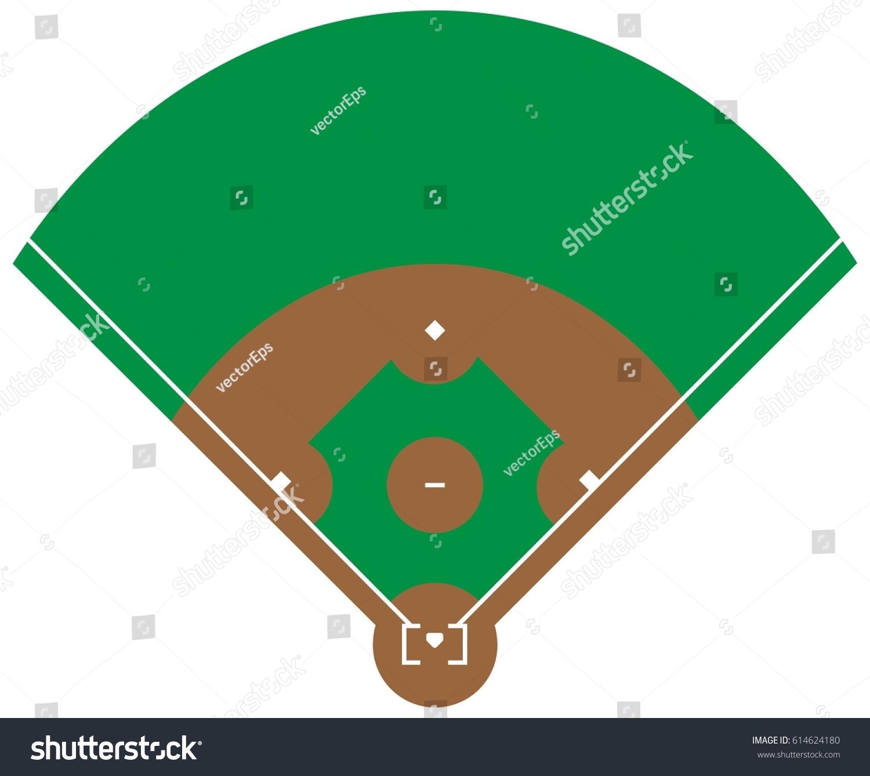 Flat Green Baseball Grass Field Line Stock Vector