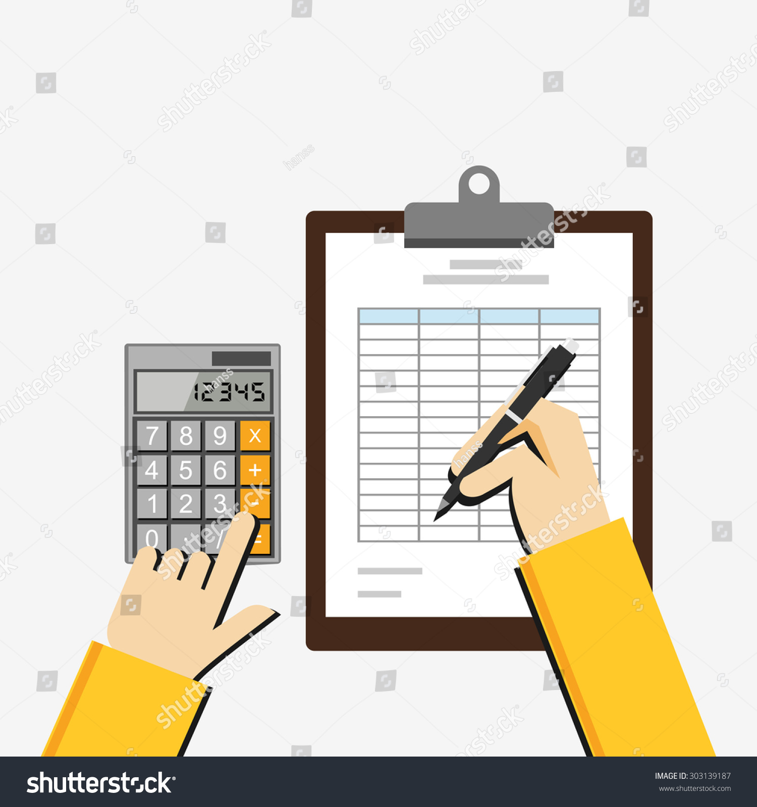 Flat Illustration Tax Document Spreadsheet Budget Stock Vector ...