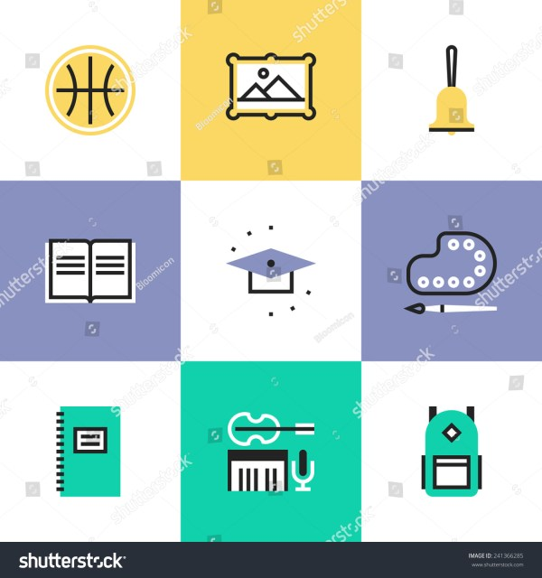 Flat Line Icons Education Objects Elementary Stock Vector