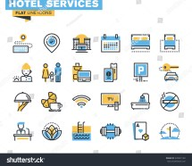 Flat Line Icons Set Of Major Hotel Service Facilities