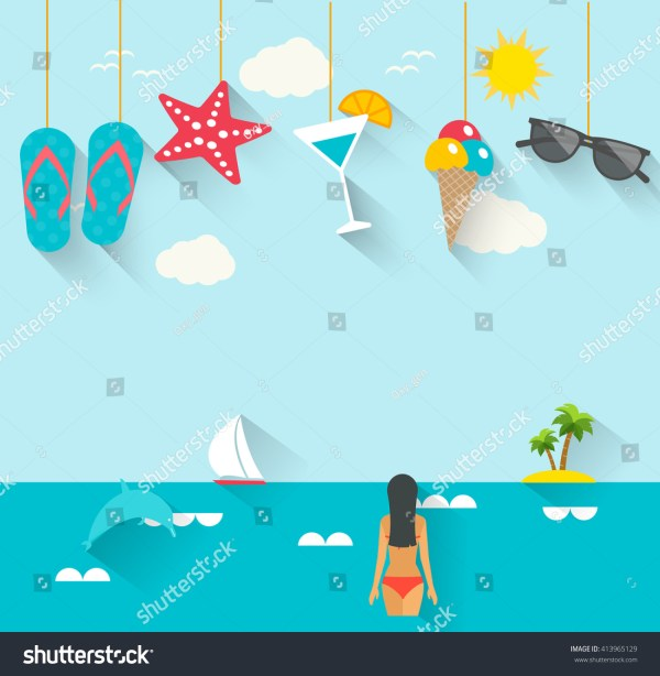 Flat Summer Holidays Vacation Poster With Hanging