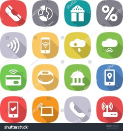 flat vector icon set phone vector circle diagram gift percent wireless cloud service tap to pay smart bracelet goverment house mobile location  [ 1500 x 1600 Pixel ]