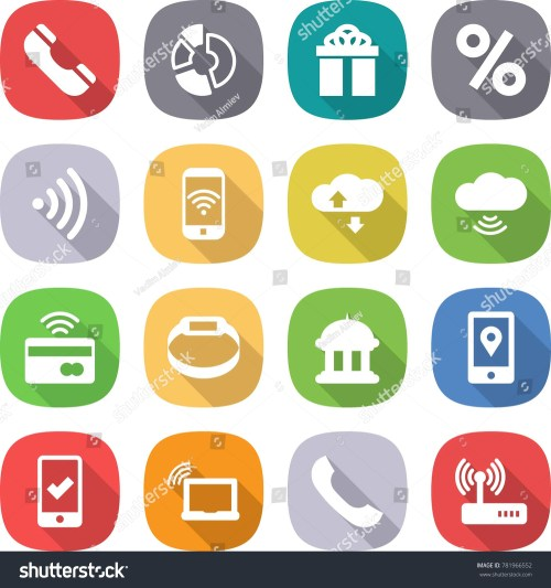 small resolution of flat vector icon set phone vector circle diagram gift percent wireless cloud service tap to pay smart bracelet goverment house mobile location