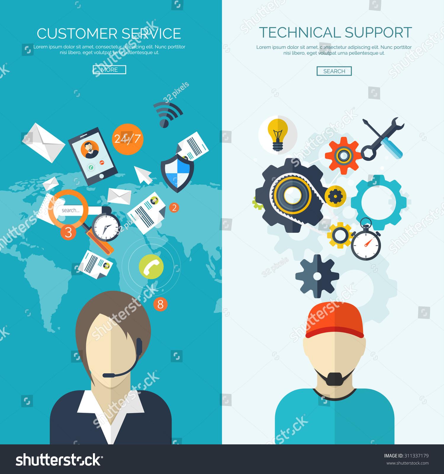 Flat Vector Illustration Customer Service Online Stock