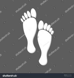 flat white human footprints isolated in grey square female feet mark [ 1500 x 1600 Pixel ]