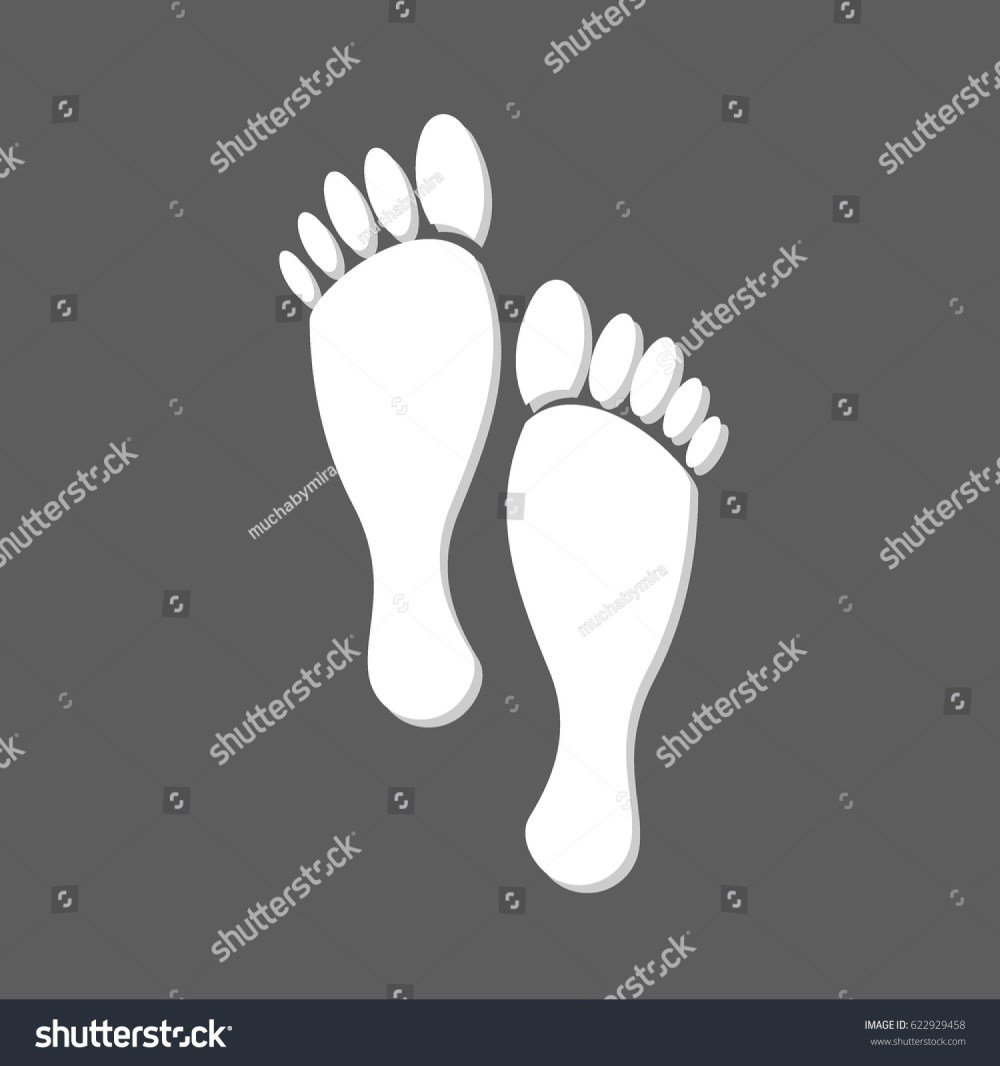 medium resolution of flat white human footprints isolated in grey square female feet mark