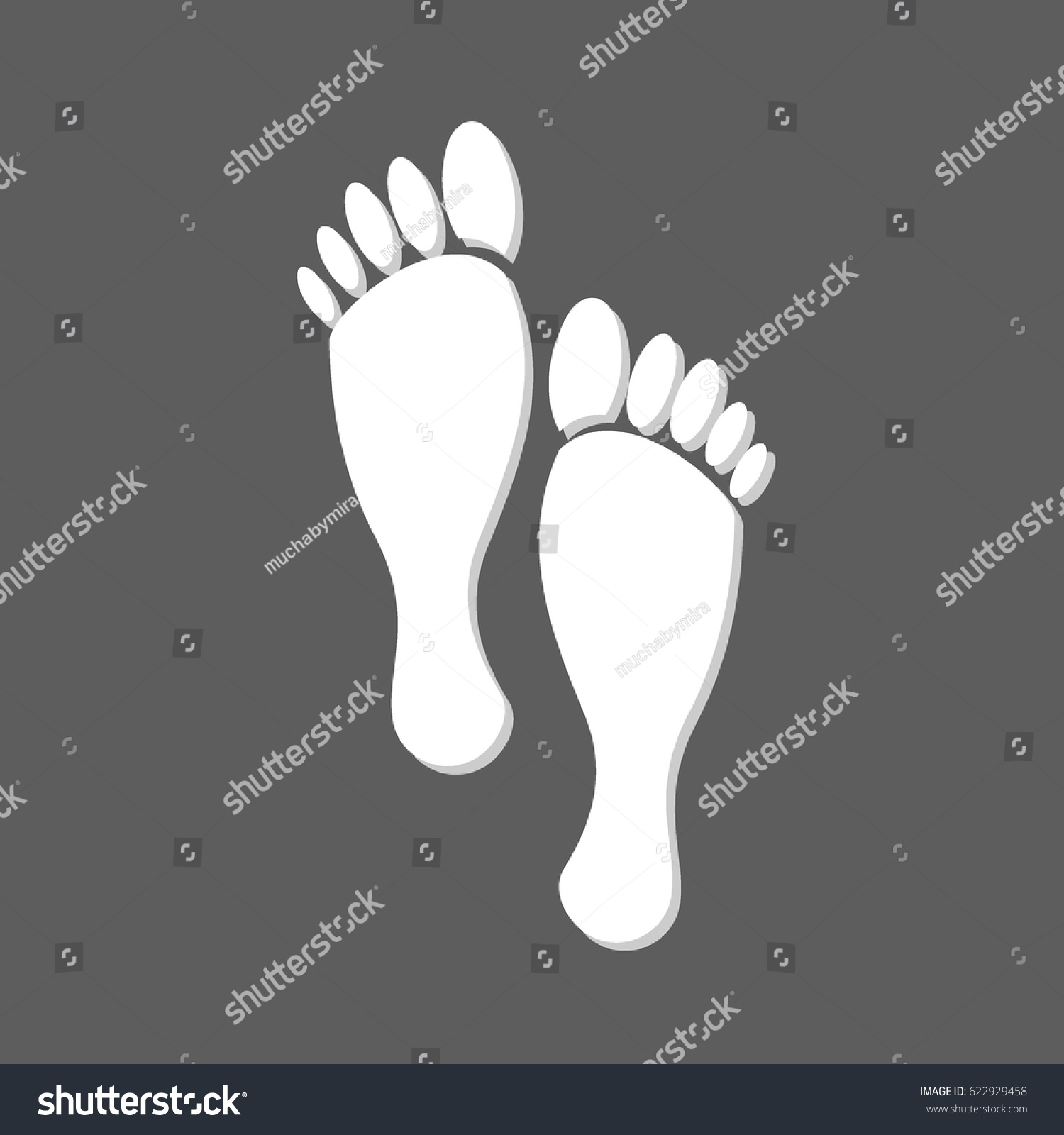 hight resolution of flat white human footprints isolated in grey square female feet mark