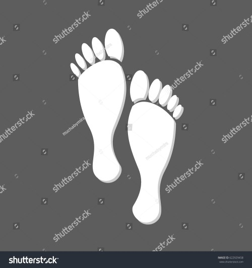 small resolution of flat white human footprints isolated in grey square female feet mark