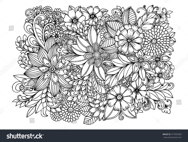 Floral Doodle Pattern Black White Zentangle Stock Vector