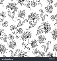 Floral Lineart Seamless Pattern Stock Vector 125401535