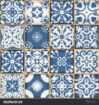 Floral Patchwork Tile Design Colorful Moroccan Stock ...