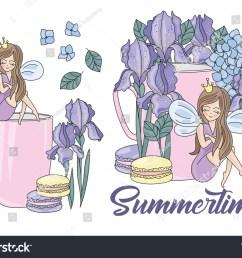 flower clipart summertime color vector illustration magic fairyland cartoon purple flower fairy princess wedding party set [ 1500 x 1161 Pixel ]