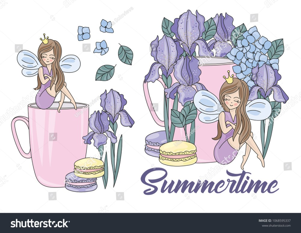 medium resolution of flower clipart summertime color vector illustration magic fairyland cartoon purple flower fairy princess wedding party set