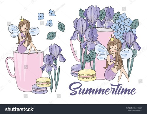 small resolution of flower clipart summertime color vector illustration magic fairyland cartoon purple flower fairy princess wedding party set