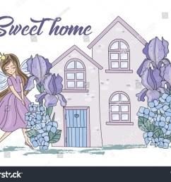 flower clipart sweet home color vector illustration magic fairyland cartoon purple flowers fairy princess iris scrapbooking [ 1500 x 1161 Pixel ]