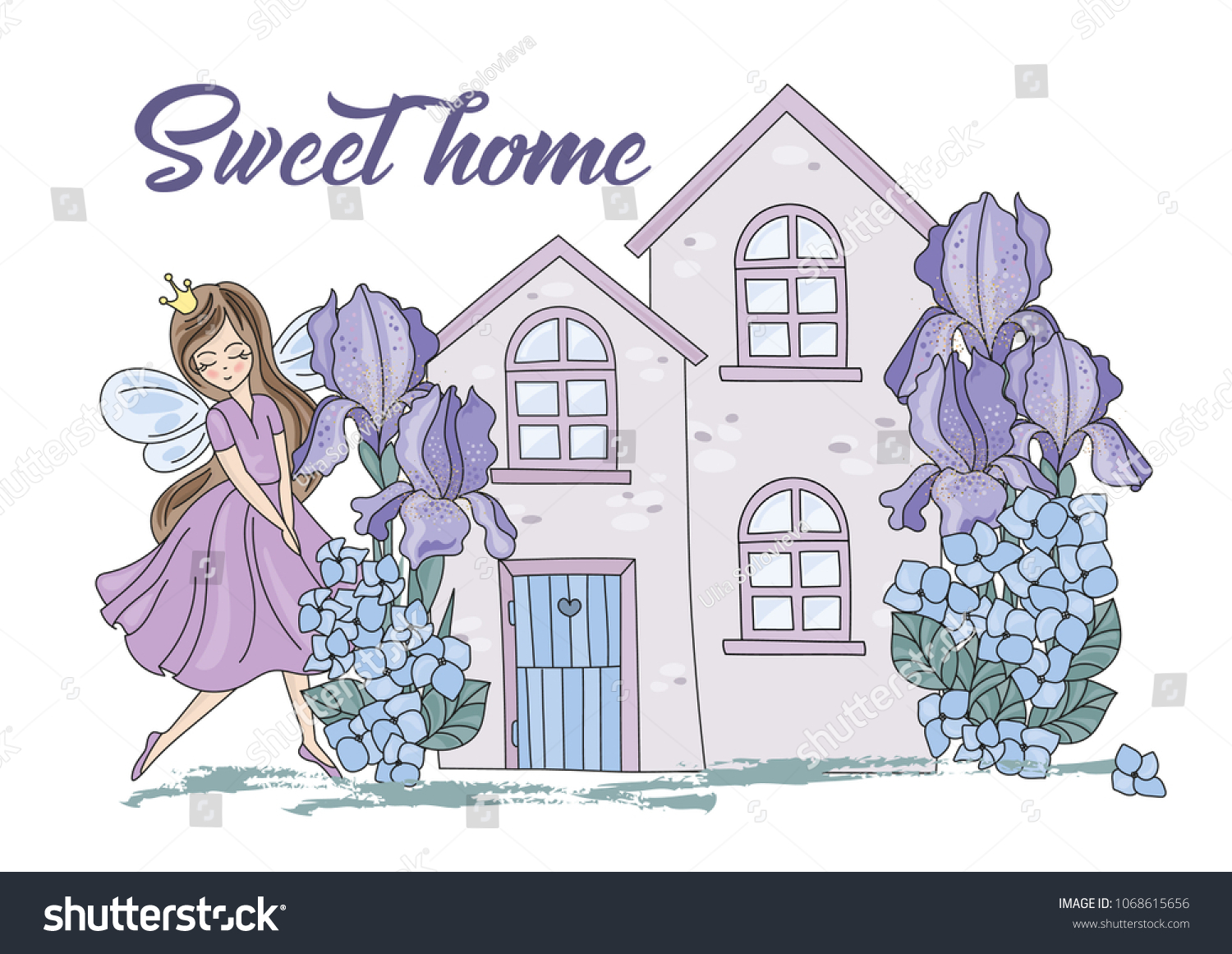 hight resolution of flower clipart sweet home color vector illustration magic fairyland cartoon purple flowers fairy princess iris scrapbooking
