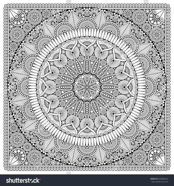 Flower Mandala Vintage Decorative Elements Oriental Stock Vector 495480322 - Shutterstock