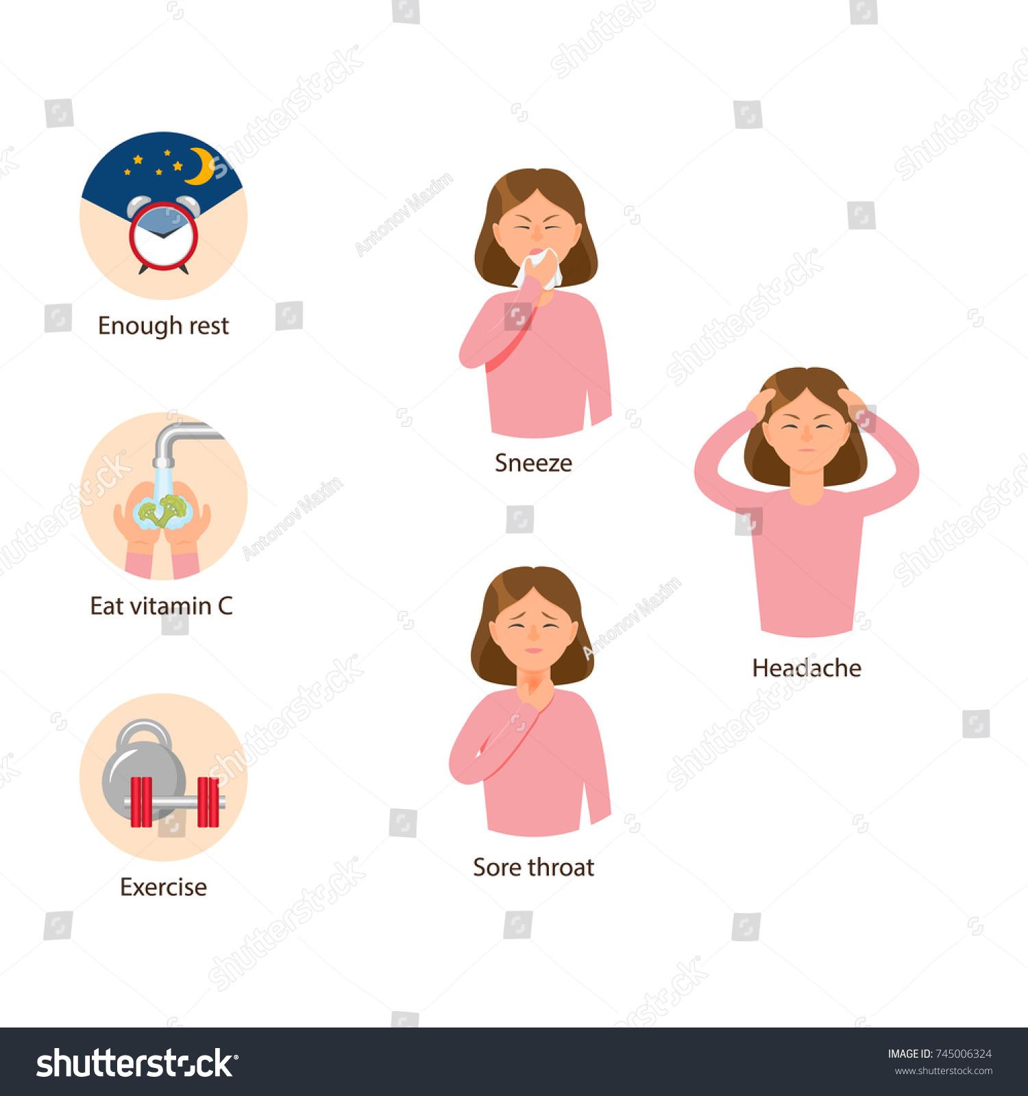 Flu Symptoms Headache Sneeze Sore Throat Stock Vector (Royalty ...