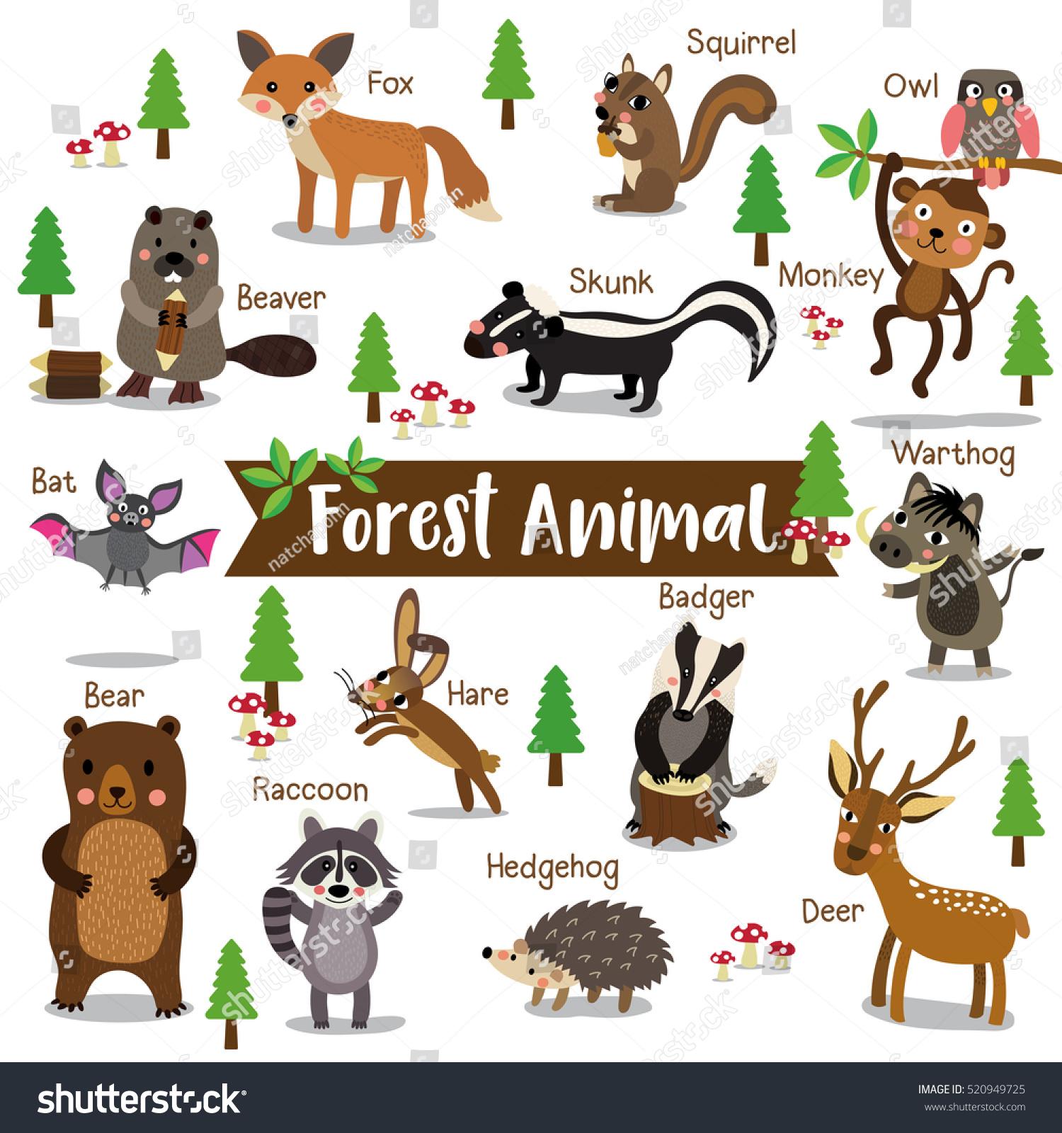 Forest Creature Cartoon On White Background Vectores En