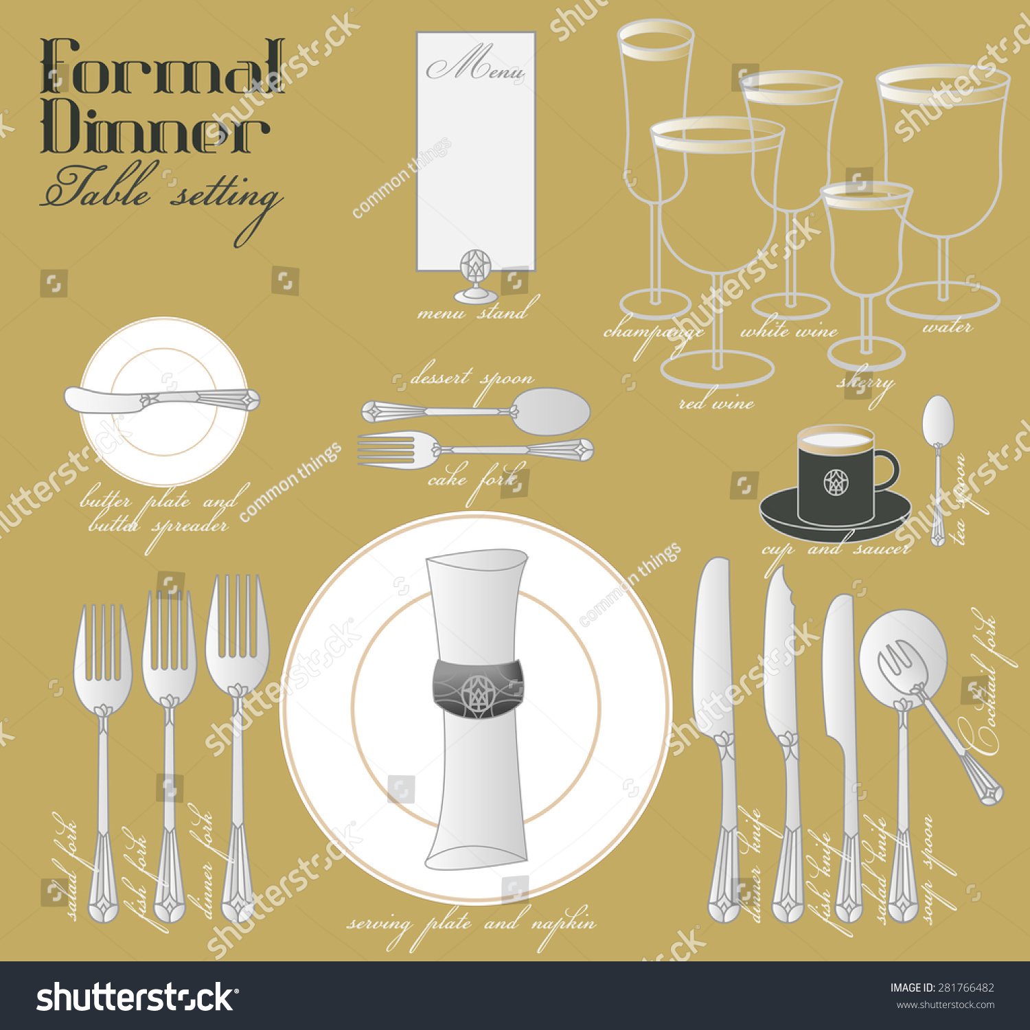 hight resolution of formal dinner table setting formal dining stock vector royalty free elegant table setting diagram