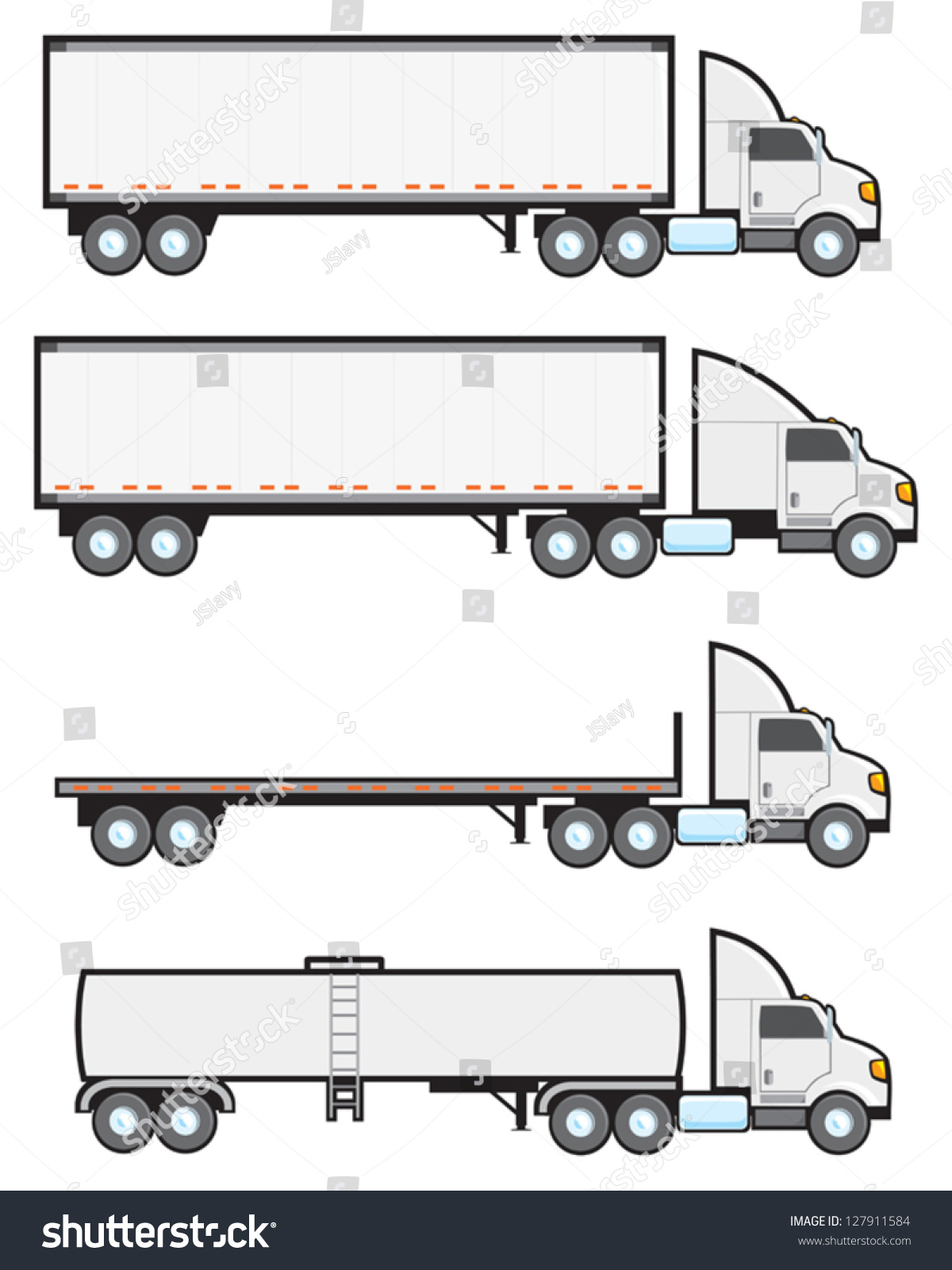 Four Common Types American Big Rigs Stock Vector