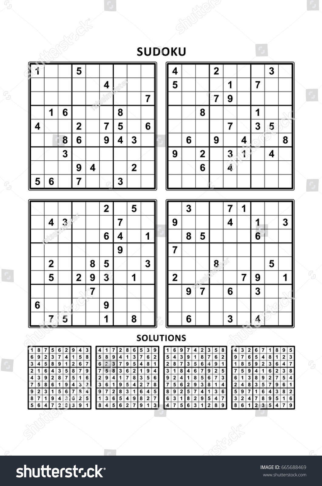 Four Sudoku Puzzles Comfortable Easy Yet Stock Vector
