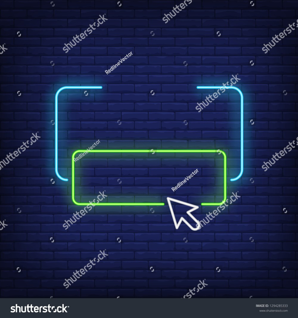 medium resolution of frame button and arrow neon sign user interface icons design night bright neon