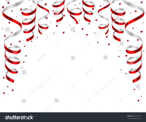 frame red streamers stock vector