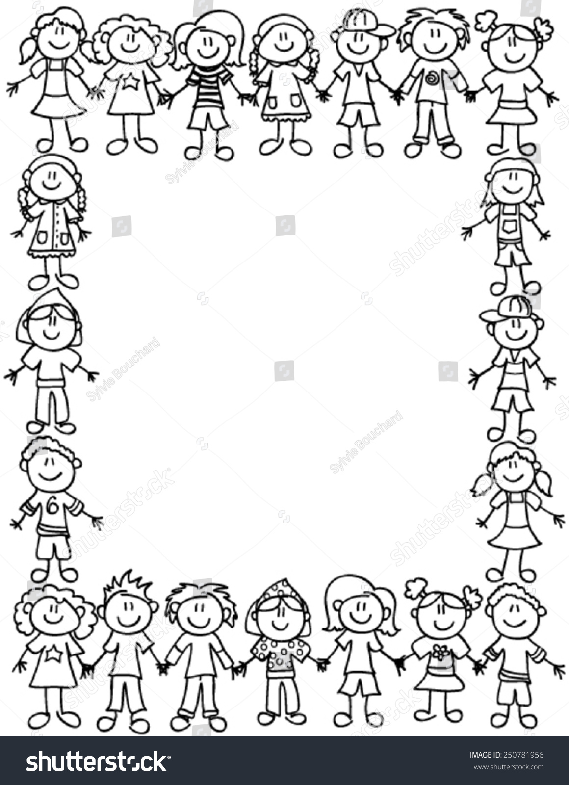 Frame Page Border Cute Kid Cartoon Stock Vector