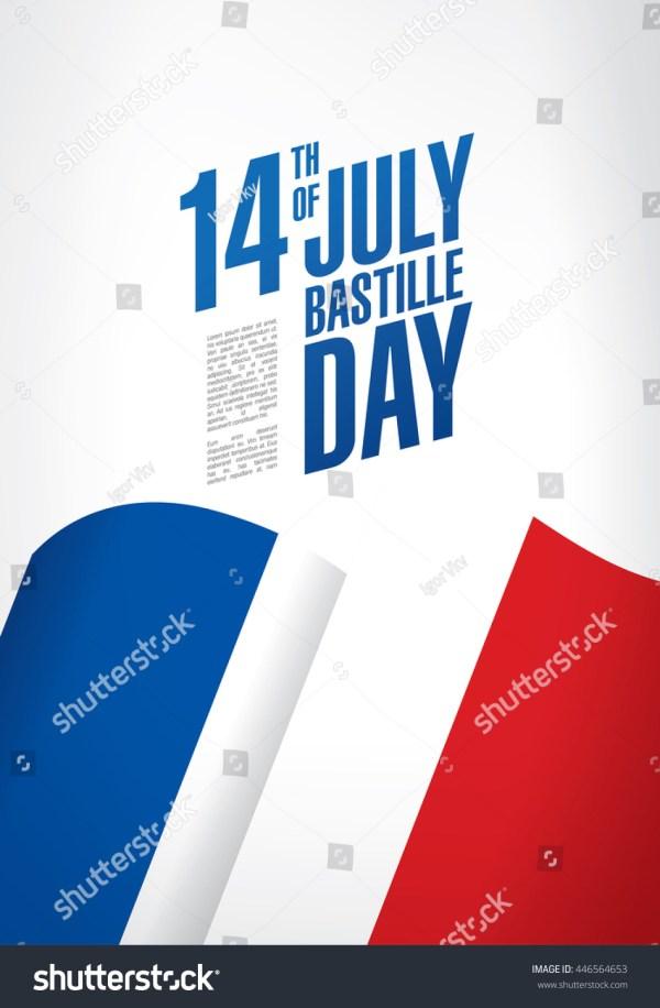France 14 July Happy Bastille Stock Vector 446564653