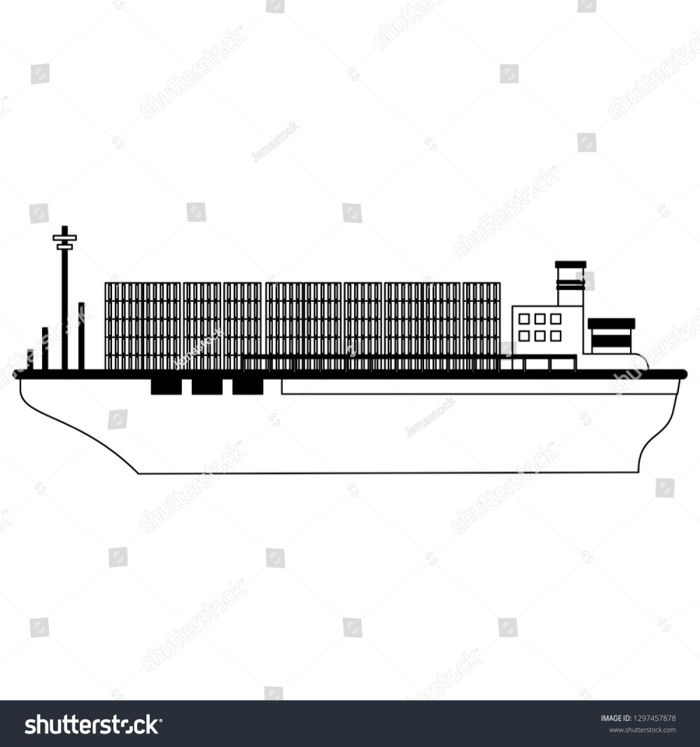 medium resolution of freighter boat with containers black and white