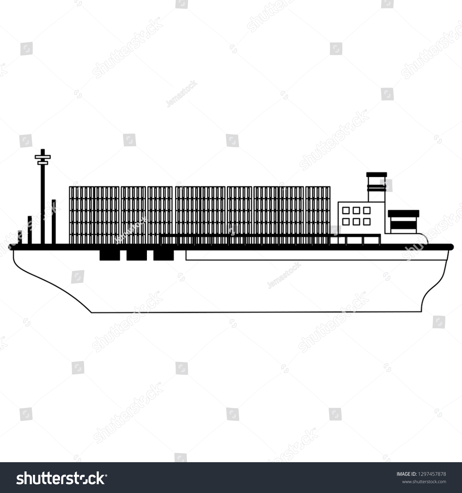 hight resolution of freighter boat with containers black and white