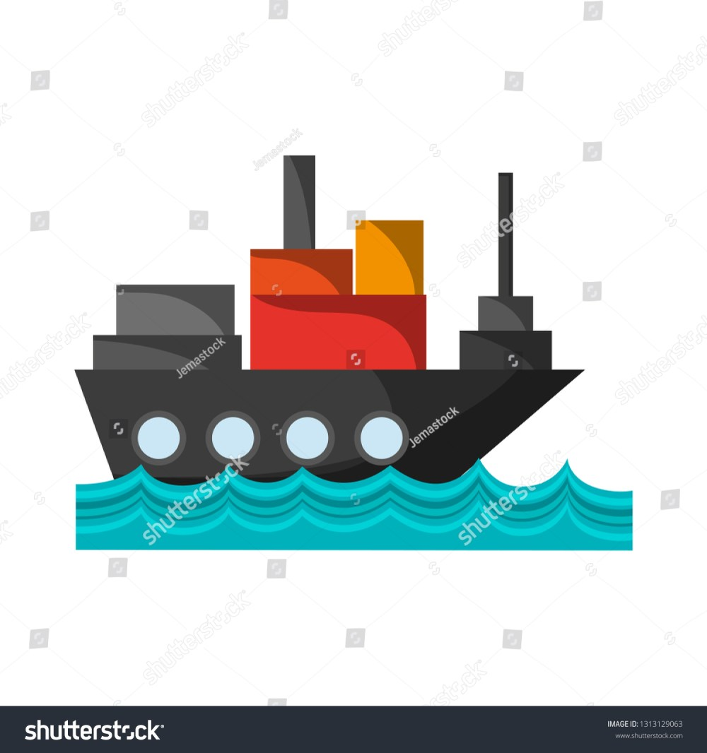 medium resolution of freighter ship with container in the sea