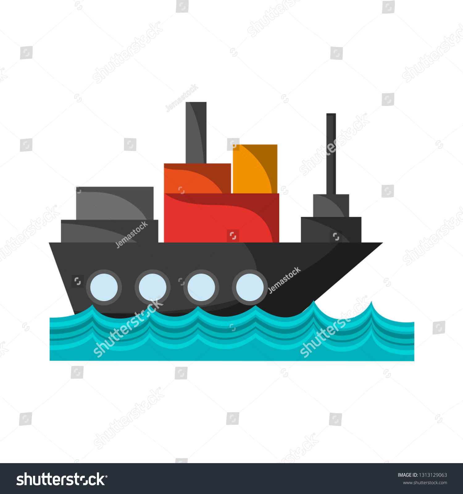 hight resolution of freighter ship with container in the sea