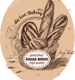 fresh bread in the basket with label the basket is decorated with a red bow and lable ears of wheat handmade sketch with monochrome colors vector [ 1202 x 1600 Pixel ]