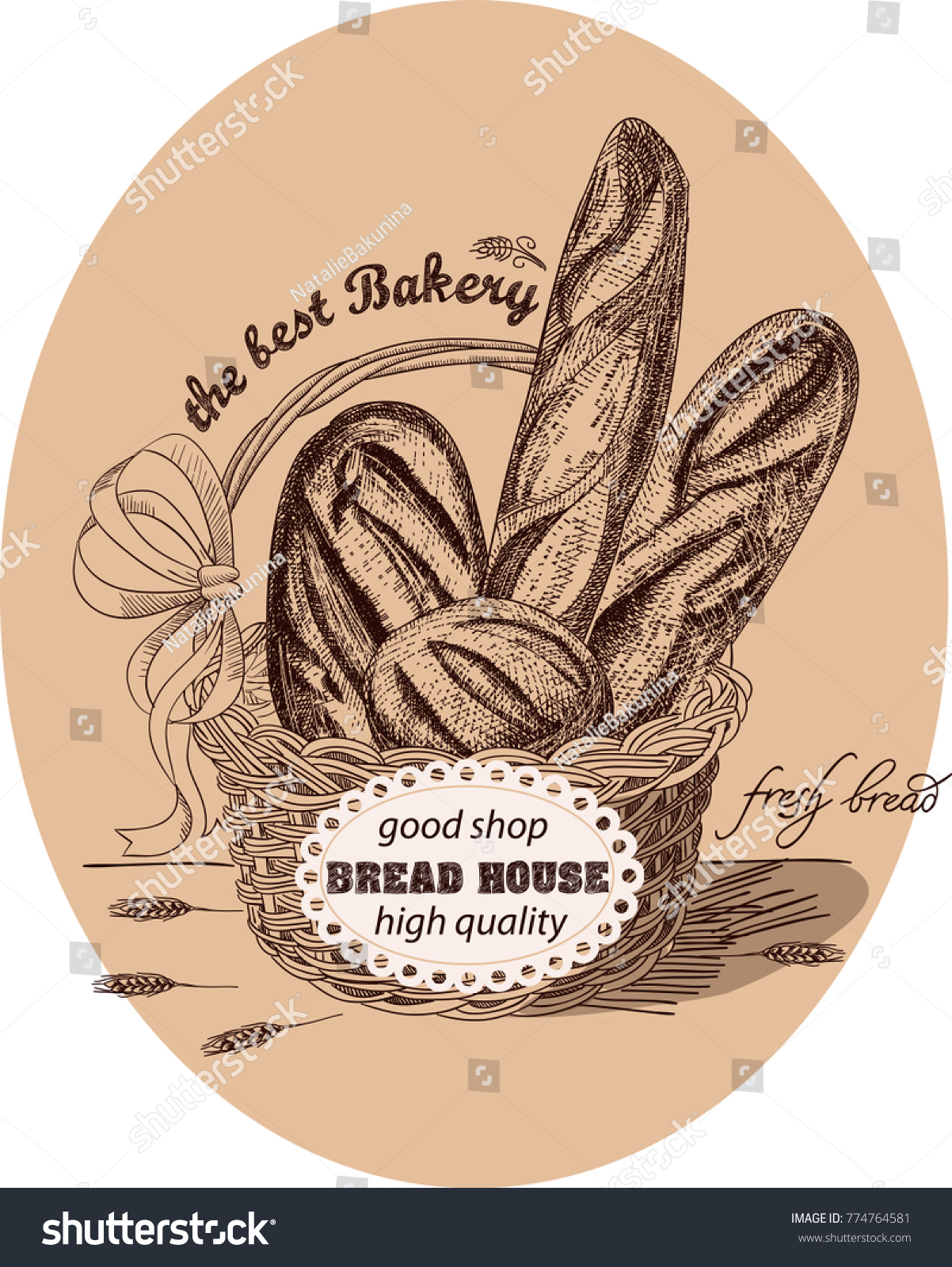 hight resolution of fresh bread in the basket with label the basket is decorated with a red bow and lable ears of wheat handmade sketch with monochrome colors vector