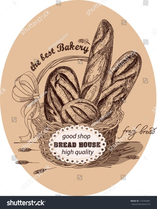 small resolution of fresh bread in the basket with label the basket is decorated with a red bow and lable ears of wheat handmade sketch with monochrome colors vector