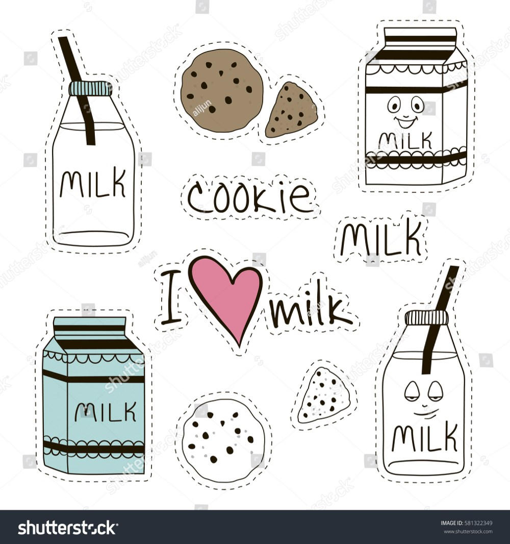 medium resolution of fresh milk and cookies stickers clipart for dairy stores farms and more