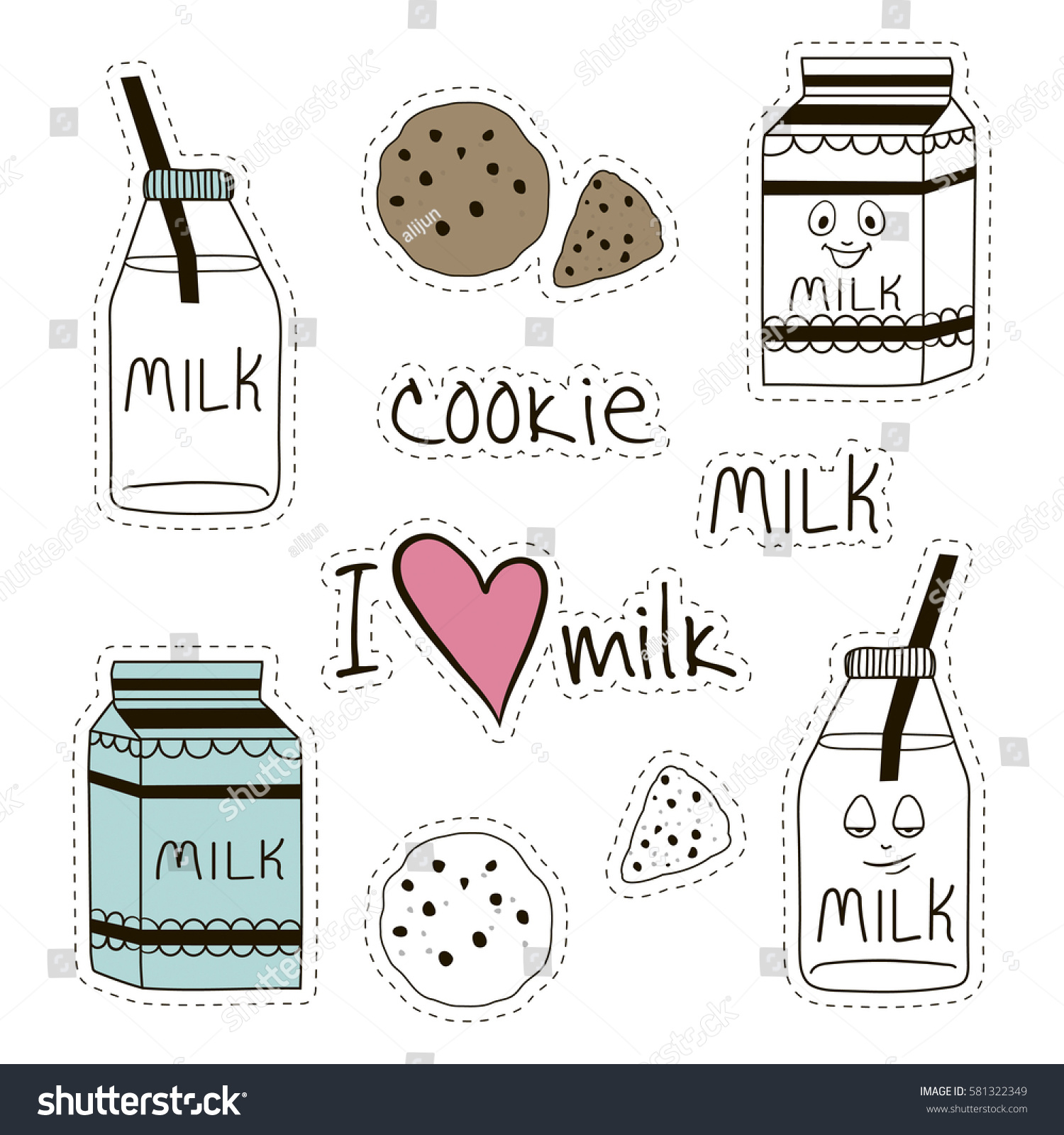 hight resolution of fresh milk and cookies stickers clipart for dairy stores farms and more