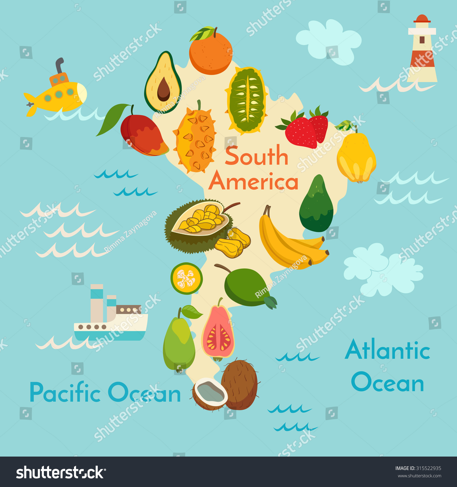 Fruit World Map South America Vector Stock Vector
