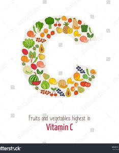 Fruits and vegetables highest in vitamin  composing letter shape nutrition healthy eating also stock vector royalty rh shutterstock