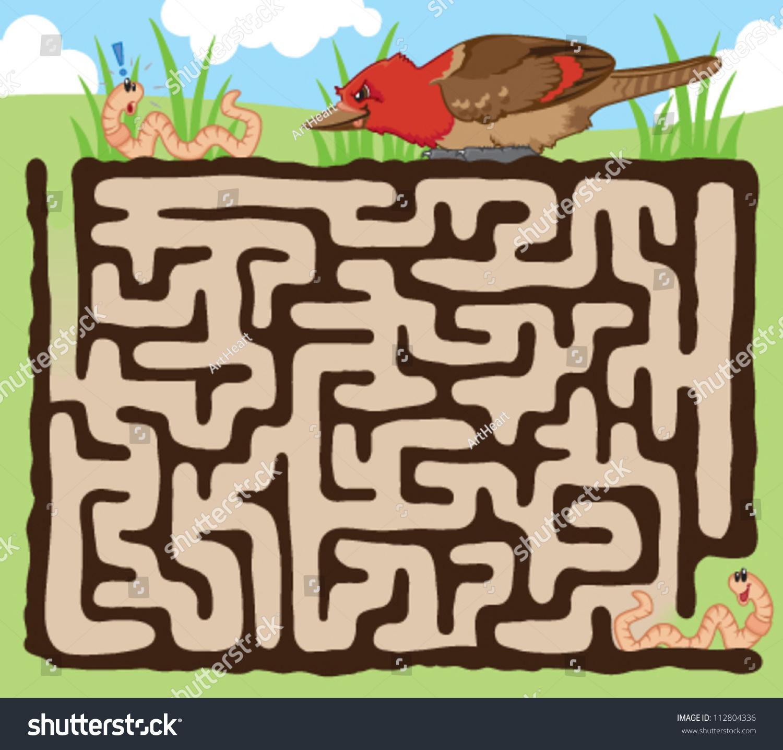 Fun Maze Kids Help Earthworm Escape Stock Vector