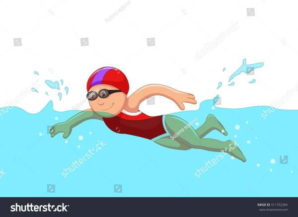 Funny Cartoon Girl Swimmer Swimming Pool Stock Vector