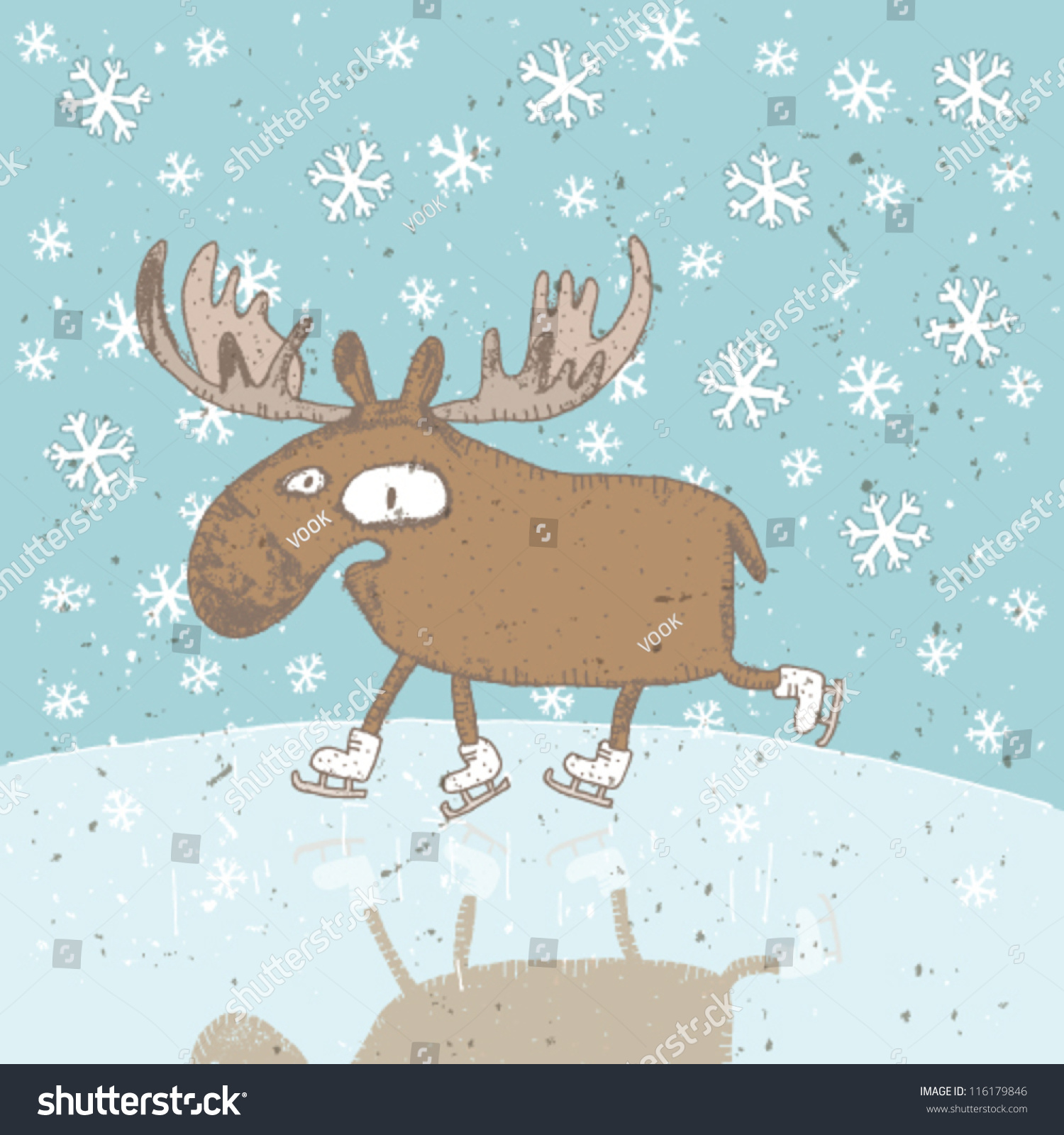 Funny Christmas Card Moose Iceskating On Stock Vector