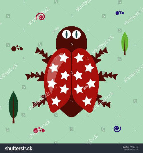 small resolution of funny flat bug clipart on green background