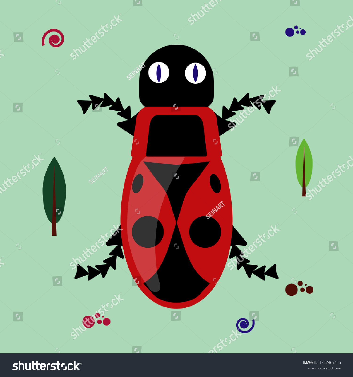 hight resolution of funny flat bug clipart on green background