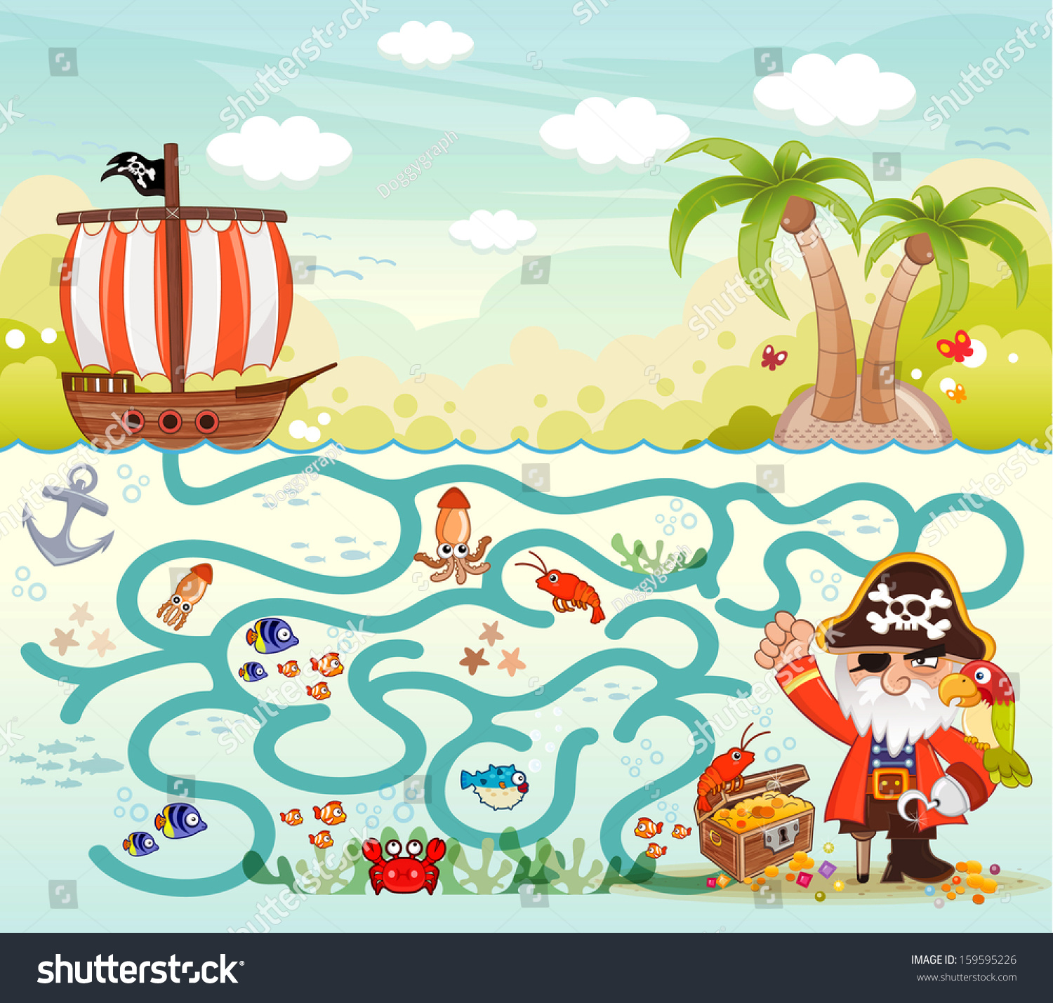 Funny Maze Game Pirate Try To Find The Treasure In The