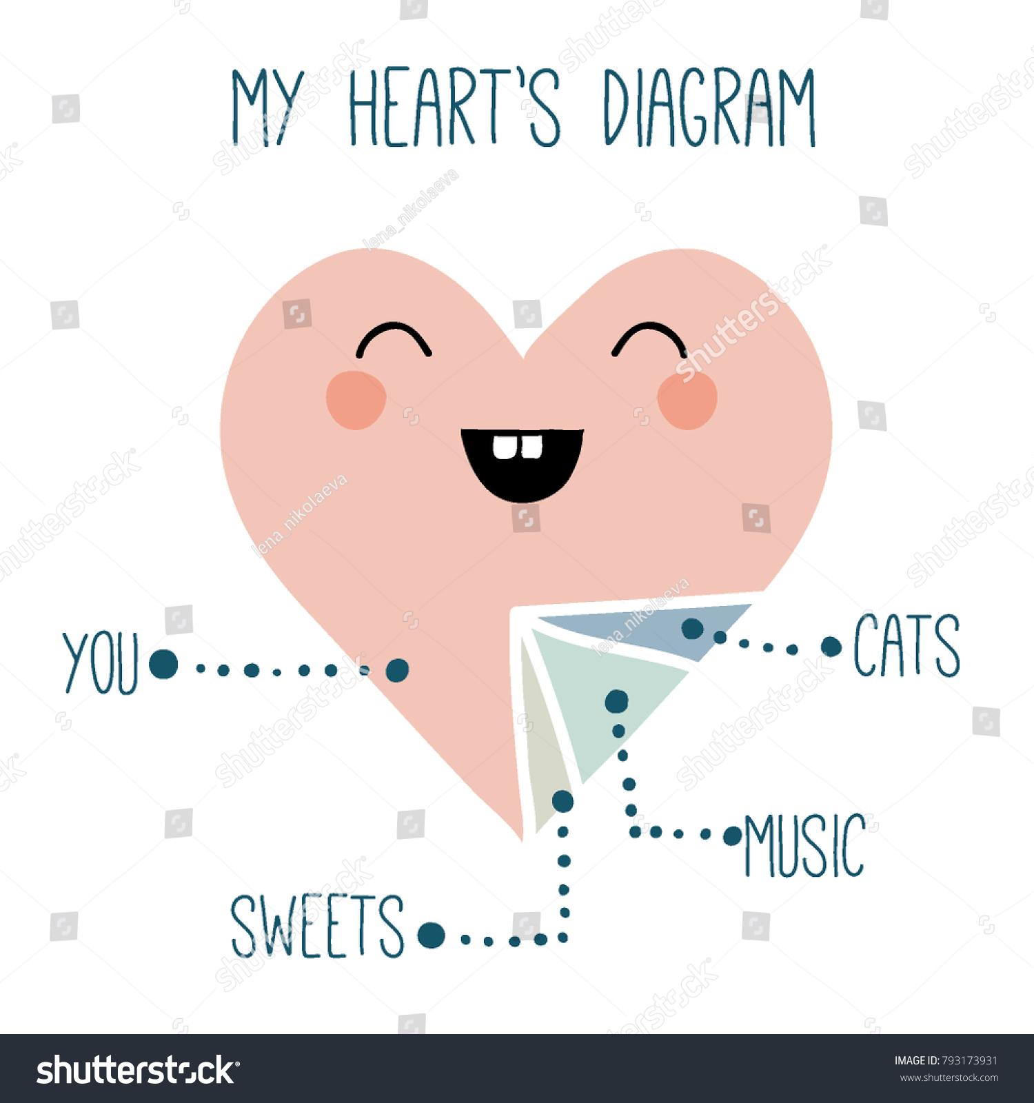 hight resolution of funny print cute heart diagram cartoon stock vector royalty free cartoon face diagram