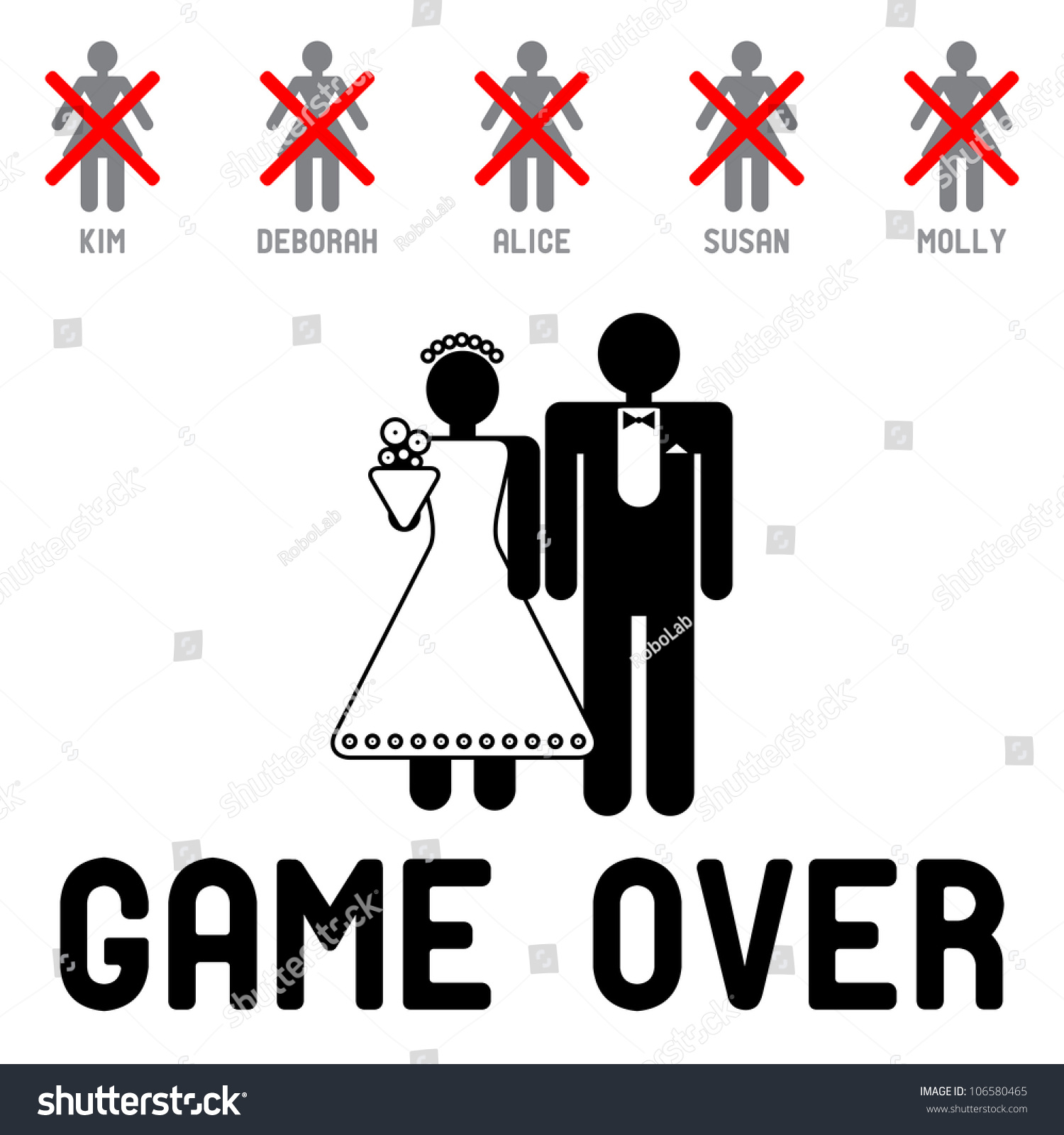 Funny Wedding Symbols Game Over Stock Vector 106580465