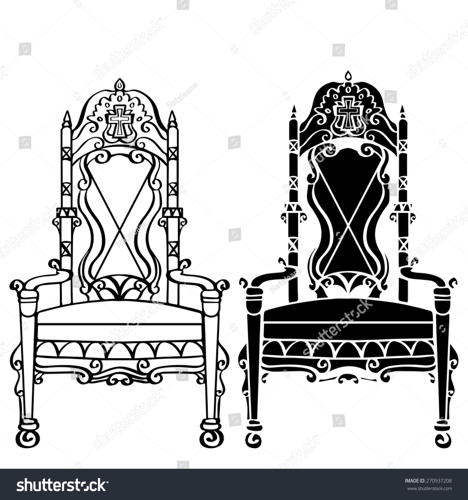 black gothic throne chair covers wedding sheffield furniture hand drawn set vintage stock vector